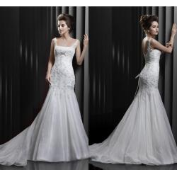 China Graceful Mermaid Beaded Straps Womens Wedding Dresses with Court Train on sale