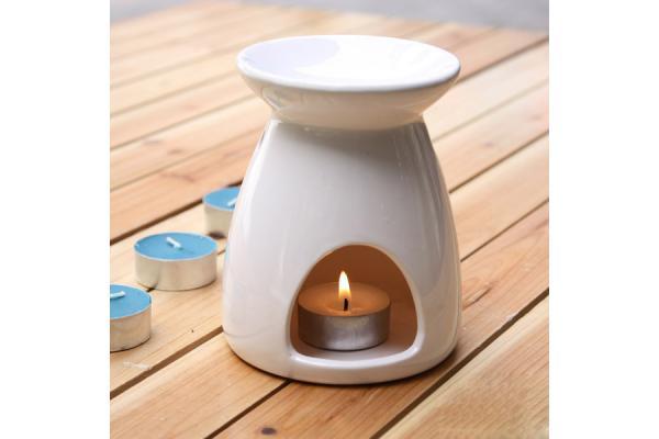 White Ceramic Aromatherapy Oil Burner Essential Oil
