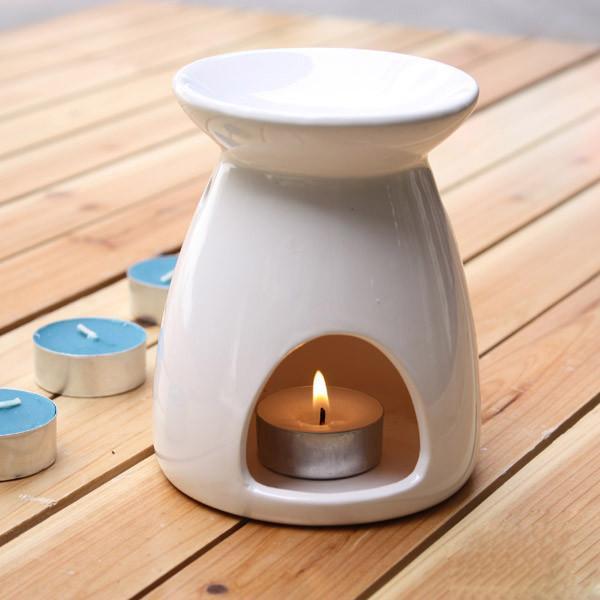 Ceramic Oil Burner ~ White ceramic aromatherapy oil burner essential