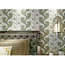China 0.53*10m Velvet Textured Wallpaper , White And Green Velvet Wallpaper For Home Decoration on sale