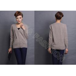 China Coffee Thin Womens Cashmere Sweaters With Pockets , V Neck Autumn breathable Sweater on sale