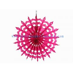 China Tissue Paper Fans For Weddings , 12 Inch Fuchsia , Pink Paper Hanging Fans For Window Dressing on sale