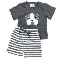 Raglan Sleeve Unisex Baby Summer Clothes Screen Prints 3D Ears With Pocket