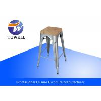 Stackable Outdoor Metal Tolix Barstool With Wooden Seat , Metal Dining Chair
