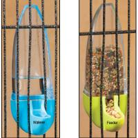 bullet-shaped bird feeder and waterer for vertical bird cage twin pack
