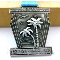 Antique pewter sports event metal medal with ribbon, vintage pewter metal ribbon medals