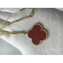 China LongVan Cleef Arpels 18K Gold Necklace With Red Flower Shape No Diamond on sale