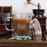 High quality crystal double wall glass cup/coffee glass mug,Borosolicate 330ml handblown tea and coffee glass