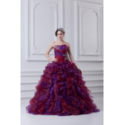 China Charming Sweetheart Beaded Quinceanera Party Dresses , Purple Organza Fabric on sale