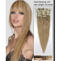 Natural 24 Inch Remy / Virgin Clip In Hair Extension Double Weft Human Hair