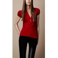 Puff Sleeve V Neck Elegant Cotton T Shirts Women , Red / Black / White
