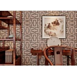 China Embossed 3D Home Wallpaper / Modern Vinyl Wallpaper with Coffee Geometric Lattice Pattern on sale