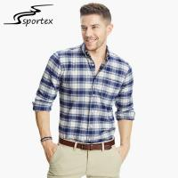 Custom Plaid Cotton Mens Casual Dress Shirts Slim Fit Design OEM / ODM