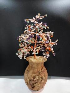 Beaded Wire Indoor Bonsai Tree Sculpture Rose Quartz Gemstone Tree For Family