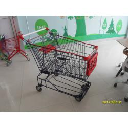 China 150L Wire Mesh Supermarket Trolley Carts With Red Baby Seat And Plastic Parts on sale