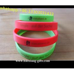 China manufacturer custom debossed/embossed/printed silicone bracelets glow in dark on sale