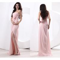 Pink A Line Chiffon Strapless Bridesmaid Wedding Dresses with Split Front / Flower Ruffles