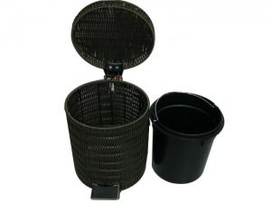 Home Poly Rattan Garbage Basket Small Bathroom Wastebaskets With Lid For Sale Rattan Waste