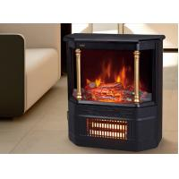 Mobile electric fireplace heater  log flame effect Roman pillar EF332S wheels infrared quartz heating room/indoor heater