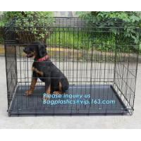 Scratch Resistant and Bite Resistant Bold Foldable Pet Wire Dog Kennels Cages, Folding Steel Dog Cages With Plastic Tray