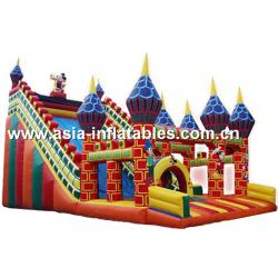 China Commercial Grade Inflatable Slide Combo With Dome Pillar For Children Games on sale