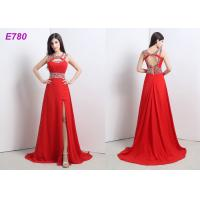 Red Slit Sexy Cocktail Party Dress Beading Chiffon Dress For Evening Dress