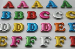flexible puffy alphabet stickers cute glitter pvc 3d foam