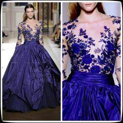 China Zuhair Murad Blue Long Sleeves Taffeta Quinceanera Party Dresses For Star on sale