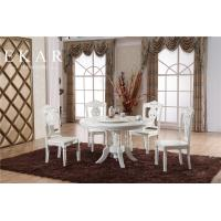 White Carved Round Round Wood Dining Table