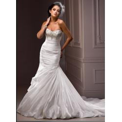 China Elegant Beaded Ruffles Mermaid Wedding Gowns Custom Made With Corset Back on sale