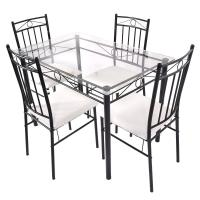 5 Piece Dining Set Glass Metal Table and 4 Chairs Kitchen Breakfast Furniture