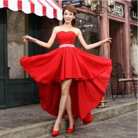 New Sweetheart Front Short Back Long Chiffon Long Bridesmaid Dress 2014 Fashion Champagne/Red/Purple/Blue Wedding Gown