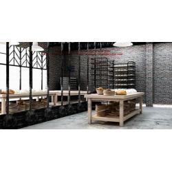 China Bakery store interior design by wooden display counters and metal storage cabinet on sale