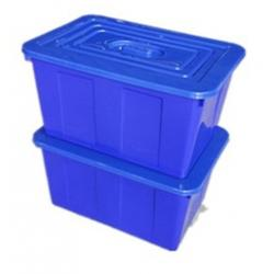 China New products OEM stackable and nestable 90L HDPE solid Plastic fish Box with cover for Water fish storage from China on sale