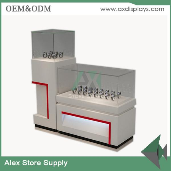 China Watch store display showcase counter design images glass display MDF  cabinet supplier