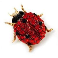 Adorable Red Ladybug Crystal Hinge Cuff Bracelet Metal Casting Jewelry for party