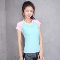 China CPG Global Spring Summer Women Polyester Sexy Slim Fit Short Sleeves Round Collar Gym Running Sports T-Shirts S-L S68 on sale