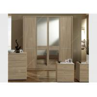 Oak Wood Veneer Hotel Room Wardrobe Four Doors Large Size High Grade With Mirrors