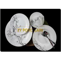 Decal And Metal Colored 20 Piece Flat Round Dinnerware Sets Porcelain Material Non - toxic