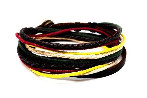 Algodón y cáñamo artesanal étnico cable pulsera de cuerda de cuero y pulseras para hombres, mujeres