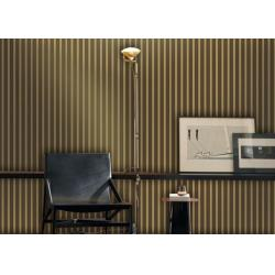 China Flocking Brown 1.06*10M Stripe Living Room Wallpaper With Multi Color Printing on sale