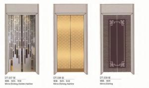 Large Elevator Replacement Parts ,  Lift Car Door With Mirror Etching Golden Hairline