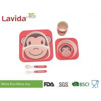 Mother's Choice Eco Bamboo Childrens Dinner Set Cute Animal Monkey Face Design
