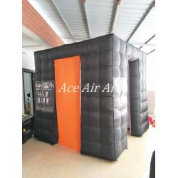 China new design advertising Black inflatable photo booth with logo 2.4m x2.4m x 2.4m on sale
