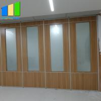Classroom Wooden Folding Partition Walls Aluminum Frame With Tempered Frosted Glass