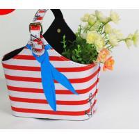 Red White Stripe Design PU Leather Storage Basket Wine Flowers Fruits Magazine Holder Rack with Handle