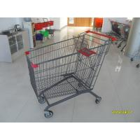 European Style Metal Grocery Cart 5 Inch Flat Caster With Safety Baby Seat