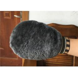 China Double Sided Sheepskin Car Wash Mitt Pure Merino Long Wool For Car Cleaning on sale