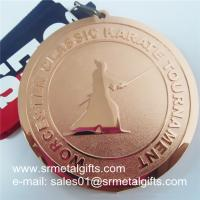Bronze Engraved Metal V neck ribbon medal, Customize your metal medals now