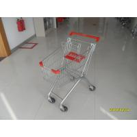 European 60L Supermarket Shopping Carts Zinc Plating With Red Baby Seat